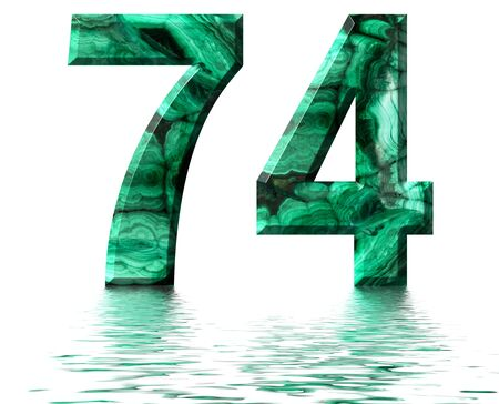 Arabic numeral 74, seventy four, from natural green malachite, reflected on the water surface, isolated on white, 3d render
