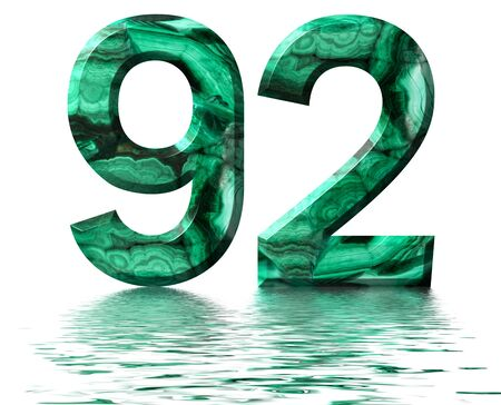 Arabic numeral 92, ninety two, from natural green malachite, reflected on the water surface, isolated on white, 3d render Stockfoto
