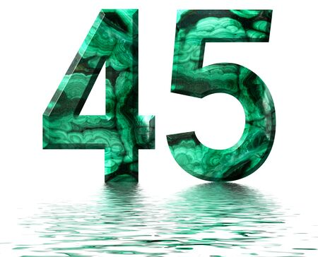 Arabic numeral 45, forty five, from natural green malachite, reflected on the water surface, isolated on white, 3d render Stockfoto