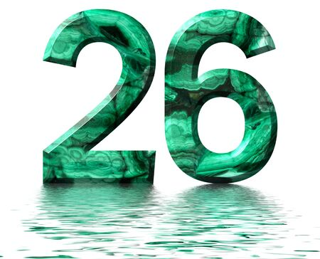 Arabic numeral 26, twenty six, from natural green malachite, reflected on the water surface, isolated on white, 3d render Stockfoto