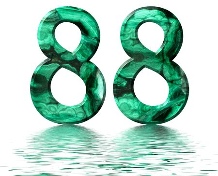 Arabic numeral 88, eighty eight, from natural green malachite, reflected on the water surface, isolated on white, 3d render