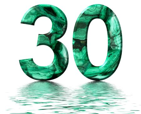 Arabic numeral 30, thirty, from natural green malachite, reflected on the water surface, isolated on white, 3d render