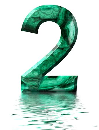 Arabic numeral 2, two, from natural green malachite, reflected on the water surface, isolated on white, 3d render Stockfoto
