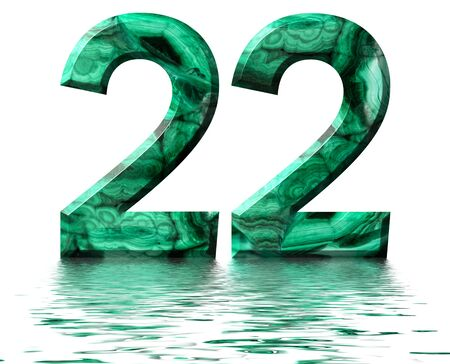 Arabic numeral 22, twenty two, from natural green malachite, reflected on the water surface, isolated on white, 3d render Stockfoto