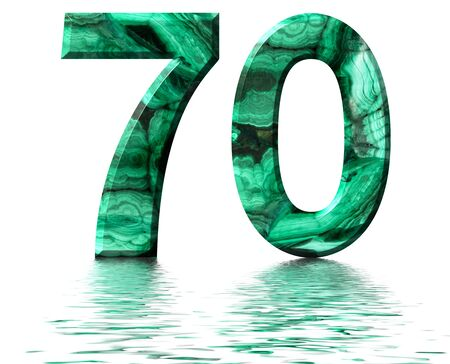 Arabic numeral 70, seventy, from natural green malachite, reflected on the water surface, isolated on white, 3d render