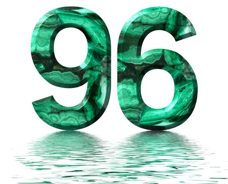Arabic numeral 96, ninety six, from natural green malachite, reflected on the water surface, isolated on white, 3d render Stockfoto