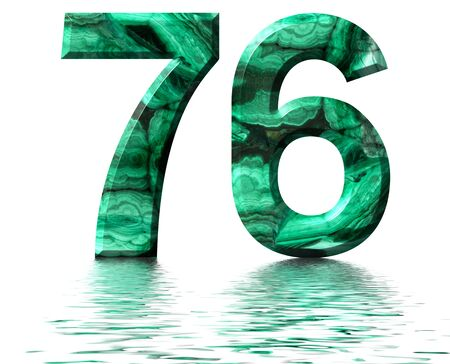 Arabic numeral 76, seventy six, from natural green malachite, reflected on the water surface, isolated on white, 3d render Stockfoto
