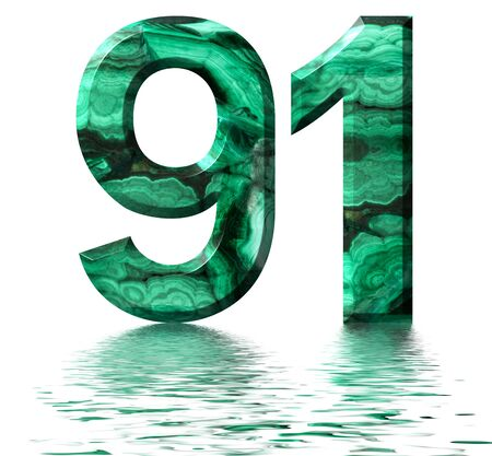 Arabic numeral 91, ninety one, from natural green malachite, reflected on the water surface, isolated on white, 3d render