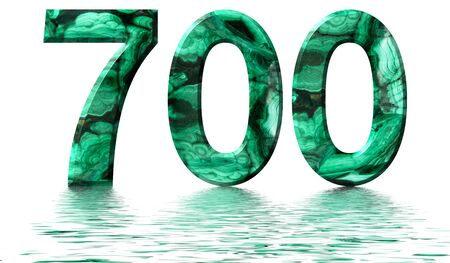 Arabic numeral 700, seven hundred, from natural green malachite, reflected on the water surface, isolated on white, 3d render