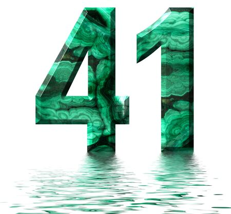 Arabic numeral 41, forty one, from natural green malachite, reflected on the water surface, isolated on white, 3d render Stockfoto