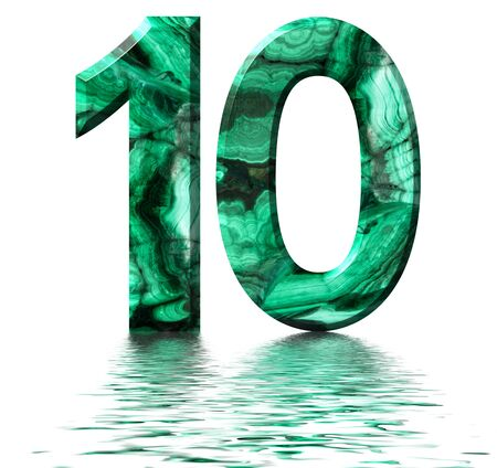 Arabic numeral 10, ten, from natural green malachite, reflected on the water surface, isolated on white, 3d render Stockfoto