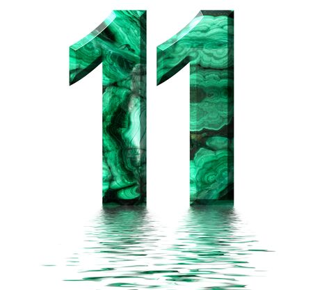 Arabic numeral 11, eleven, from natural green malachite, reflected on the water surface, isolated on white, 3d render Stockfoto