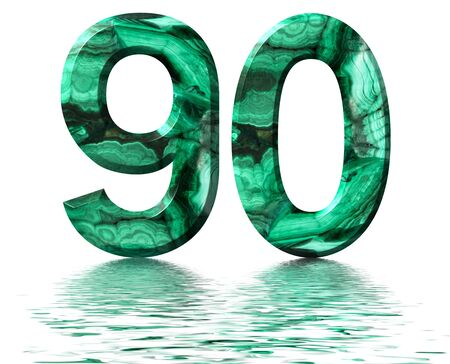 Arabic numeral 90, ninety, nine, from natural green malachite, reflected on the water surface, isolated on white, 3d render Stockfoto