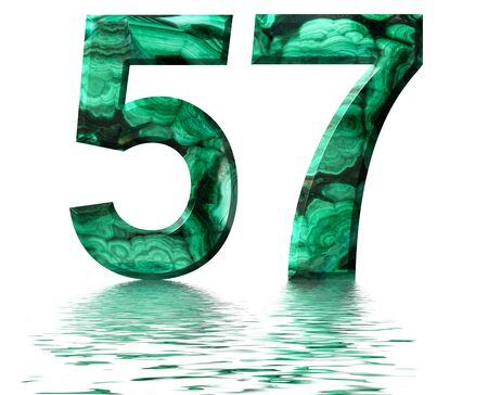 Arabic numeral 57, fifty seven, from natural green malachite, reflected on the water surface, isolated on white, 3d render