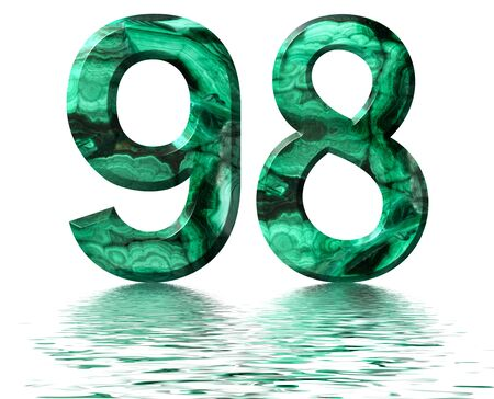 Arabic numeral 98, ninety eight, from natural green malachite, reflected on the water surface, isolated on white, 3d render