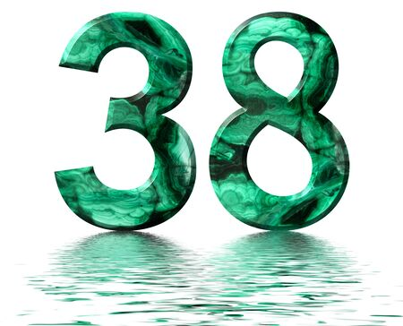 Arabic numeral 38, thirty eight, from natural green malachite, reflected on the water surface, isolated on white, 3d render