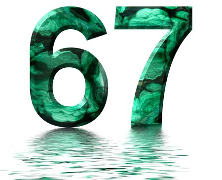 Arabic numeral 67, sixty seven, from natural green malachite, reflected on the water surface, isolated on white, 3d render