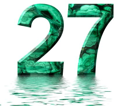 Arabic numeral 27, twenty seven, from natural green malachite, reflected on the water surface, isolated on white, 3d render