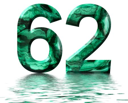Arabic numeral 62, sixty two, from natural green malachite, reflected on the water surface, isolated on white, 3d render