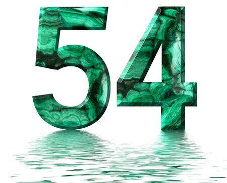 Arabic numeral 54, fifty four, from natural green malachite, reflected on the water surface, isolated on white, 3d render Stockfoto
