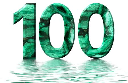 Arabic numeral 100, one hundred, from natural green malachite, reflected on the water surface, isolated on white, 3d render