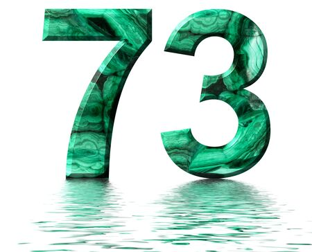 Arabic numeral 73, seventy three, from natural green malachite, reflected on the water surface, isolated on white, 3d render Stock Photo