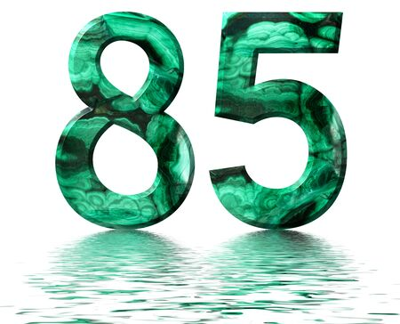 Arabic numeral 85, eighty five, from natural green malachite, reflected on the water surface, isolated on white, 3d render