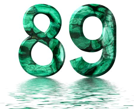 Arabic numeral 89, eighty nine, from natural green malachite, reflected on the water surface, isolated on white, 3d render