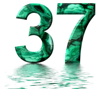 Arabic numeral 37, thirty seven, from natural green malachite, reflected on the water surface, isolated on white, 3d render