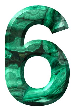 Arabic numeral 6, six, from natural green malachite, isolated on white background Imagens