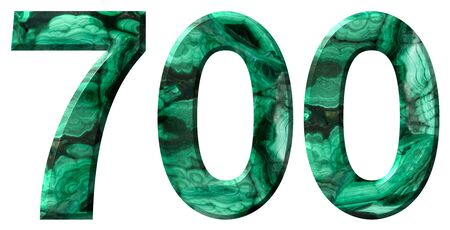 Arabic numeral 700, seven hundred, from natural green malachite, isolated on white background Imagens