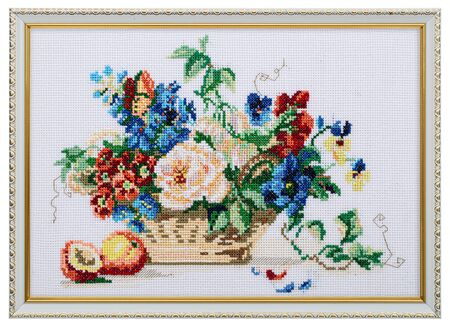 Embroidered picture in an openwork frame, still life with flowers and fruits, cross-stitch on textile canvas, isolated on white background