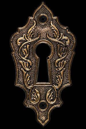 El ojo de la cerradura, elemento de diseño decorativo, aislado sobre fondo negro