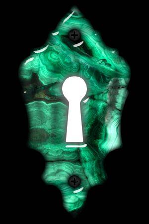 Bright light in the keyhole, decorative design element, imitation of malachite, isolated on black background, 3d render