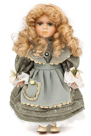 Porcelain doll, isolated on white background