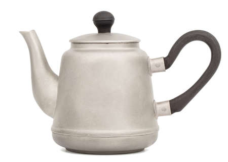 Antique metal teapot, antique kettle, silver teapot, metal teapot, isolated on white background 免版税图像