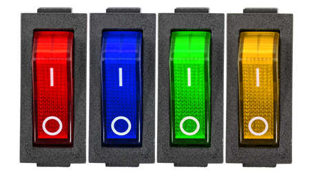 Red, blue, green and yellow power switches at OF position, isolated on white background