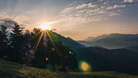 Amazing morning in Georgian village Omalo. Omalo Shatili trek. In Caucasus mountains.