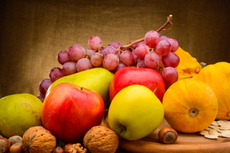 colorful  assorted of fruits on fabric background