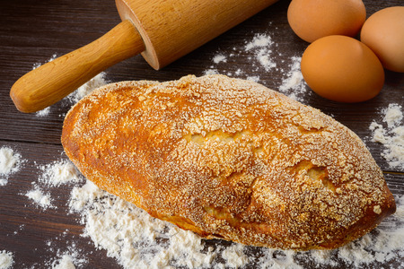 Baking fresh bread background close up shoot photo