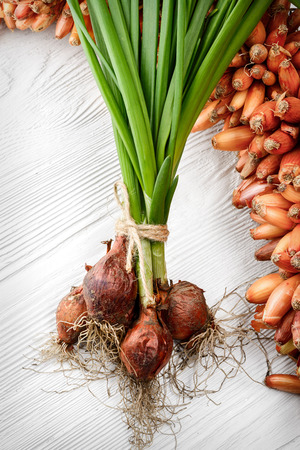 green onions: fresh green onions on the white wooden background