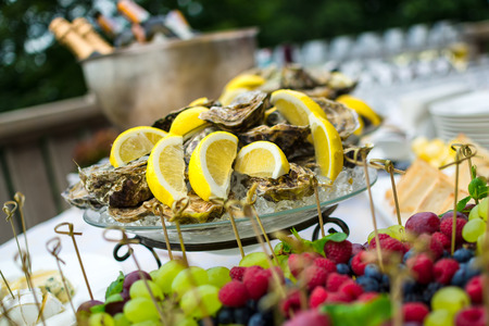 Oysters on ice at buffet table, catering photo