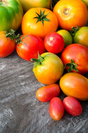 multicolored tomatoes on wooden background photo