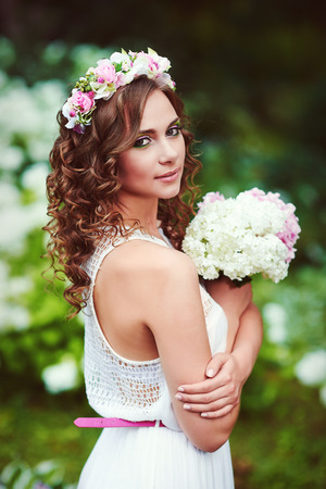 Attractive beautiful woman in greek style photo