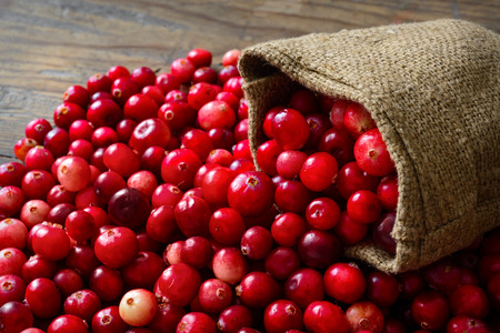 Cranberries in fabric bag on wooden background