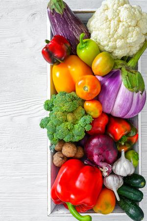 Fresh vegetables on wooden table 免版税图像