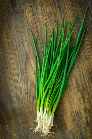 bulb and stem vegetables: Young green onions on a wooden board. Stock Photo