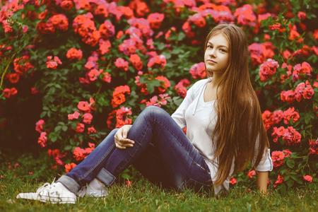 beautiful teen: Beautiful teen girl posing and enjoying in nature.