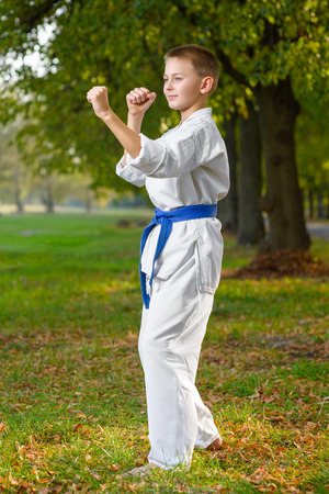 karate: little boy in white kimono during training karate exercises at summer outdoors.