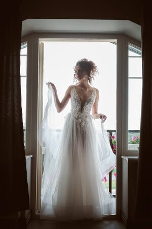 Silhouette of beautiful bride in traditional white wedding dress Standard-Bild